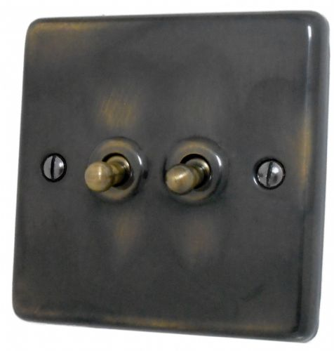 G&H CAN282 Standard Plate Polished Aged Brass 2 Gang 1 or 2 Way Toggle Light Switch